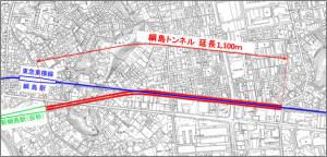 「神奈川東部方面線」の公式ホームページより、綱島トンネルの位置図