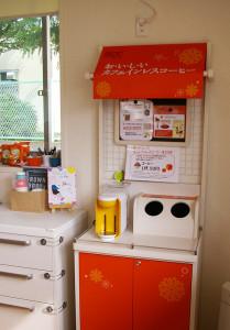 ドリンクコーナーも設置されていました。「カフェインレスコーヒー」が授乳中のママたちにとって嬉しい