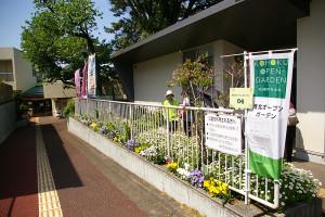日吉地区センターでの地域のボランティアグループ・ガーデニングクラブの花壇。同クラブは現在メンバー募集中との事