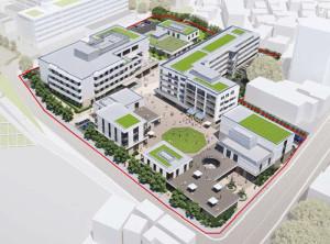 計画地の北側から見た完成予想図(北加瀬社宅跡地開発計画「条例環境影響評価準備書」より)