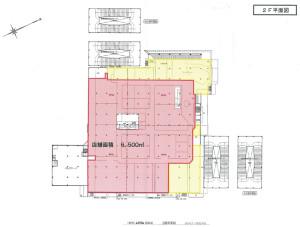 赤い太線で囲まれた部分が「店舗」(小売業)で、黄色で囲まれたエリアは大店法に定められた「小売業」以外の飲食店やサービス店、バックヤードなどに活用するエリアとみられる(横浜市の発表資料より)