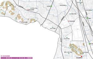 土砂災害ハザードマップの中原区・幸区版で警戒区域となっているのは、日吉駅に近いエリアばかり