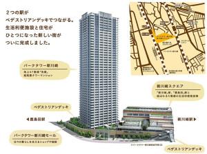 鹿島田駅の西部地区再開発の全体像(まちびらきフェスタのパンフレットより)