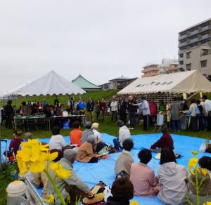 菜の花を通じた交流が生まれた長野県中野市から来賓も