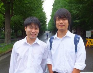 同社代表取締役社長の楠侑真さん(左)は、横浜国立大学、広報担当の佐野宏樹さん(右)は慶應義塾大学にそれぞれ在学中。学校は異なれど理工学部で学ぶ同士。二人は偶然にも同じ予備校のクラスに通った時代もあったが、お互いを知らず日吉で再会したという