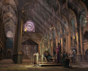 throne room castle fantasy palace places medieval rooms elaborate couteau castles glass windows rose floor interaction through court stained kings
