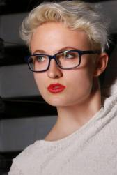 Blonde Model with Spectacles and red lips