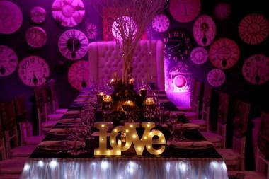 Blue and Purple Wedding Main Table