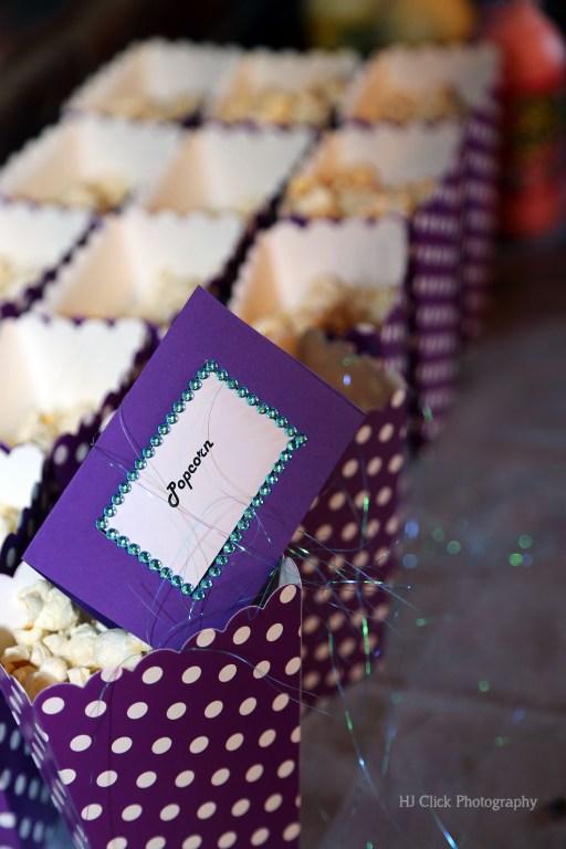 Popcorn in purple boxes