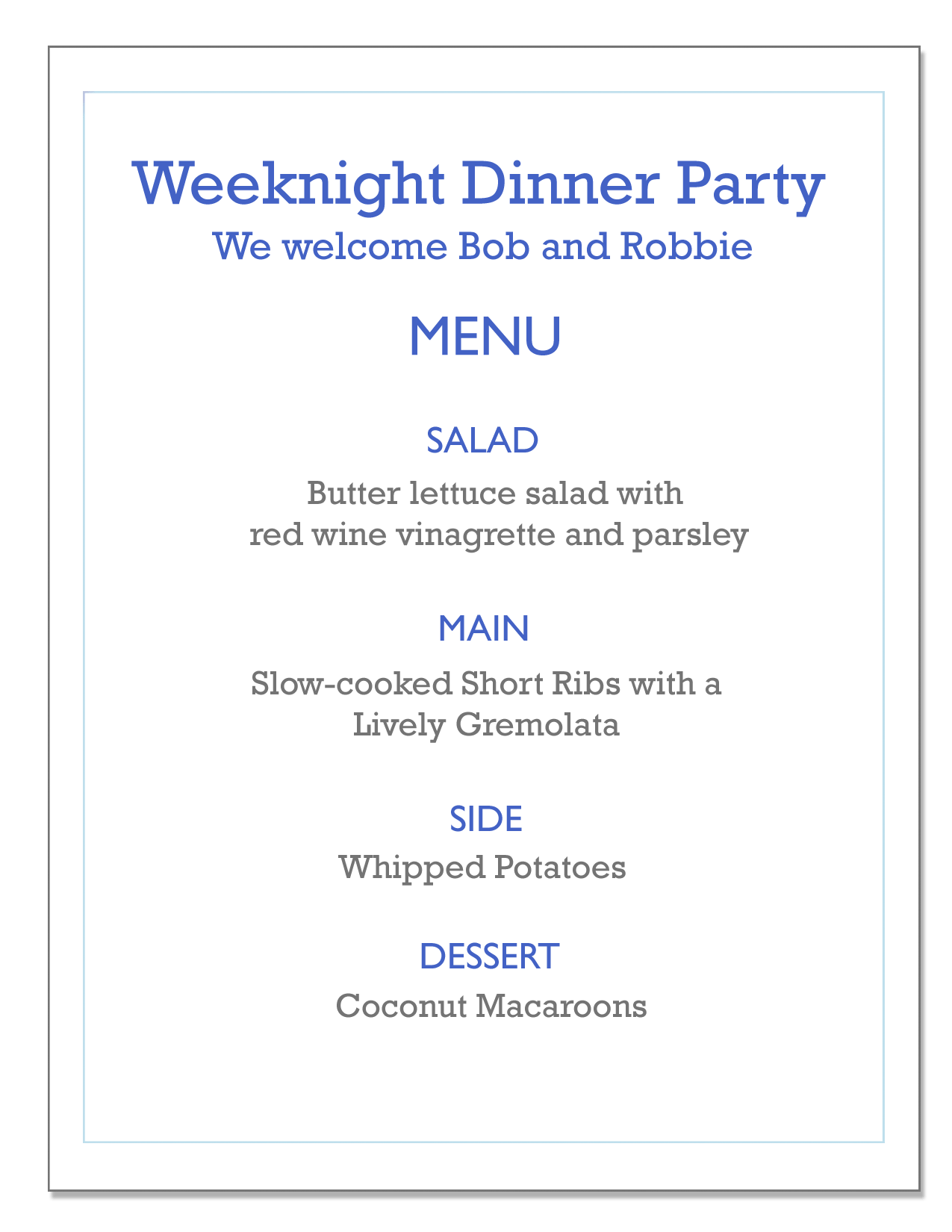 Weeknight Dinner Party Menu Including Short Ribs With Gremolata, Butter  Lettuce Salad, Whipped Potatoes