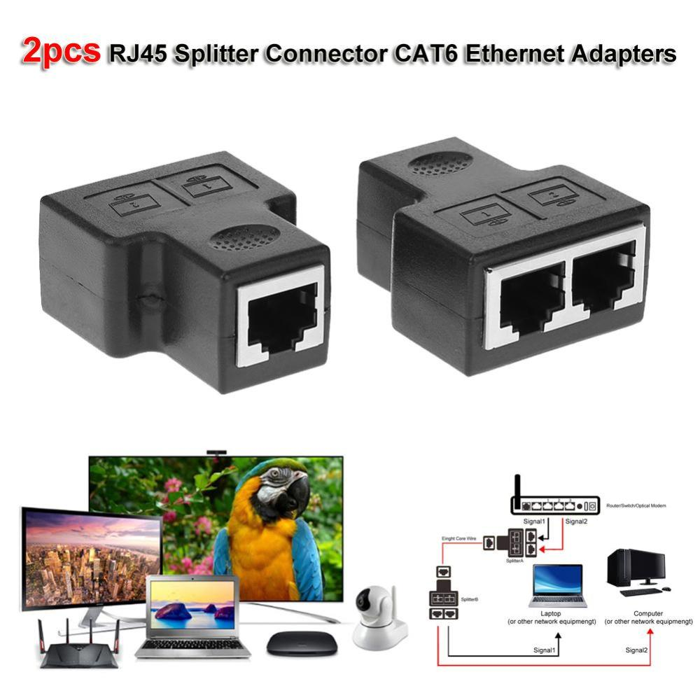 medium resolution of details about 2pcs 1 to 2 rj45 splitter connector cat6 lan ethernet network adapter 100 mbps