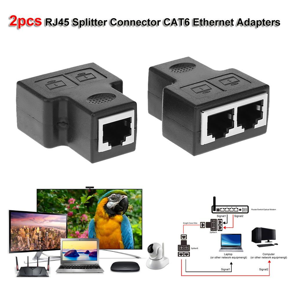 hight resolution of details about 2pcs 1 to 2 rj45 splitter connector cat6 lan ethernet network adapter 100 mbps
