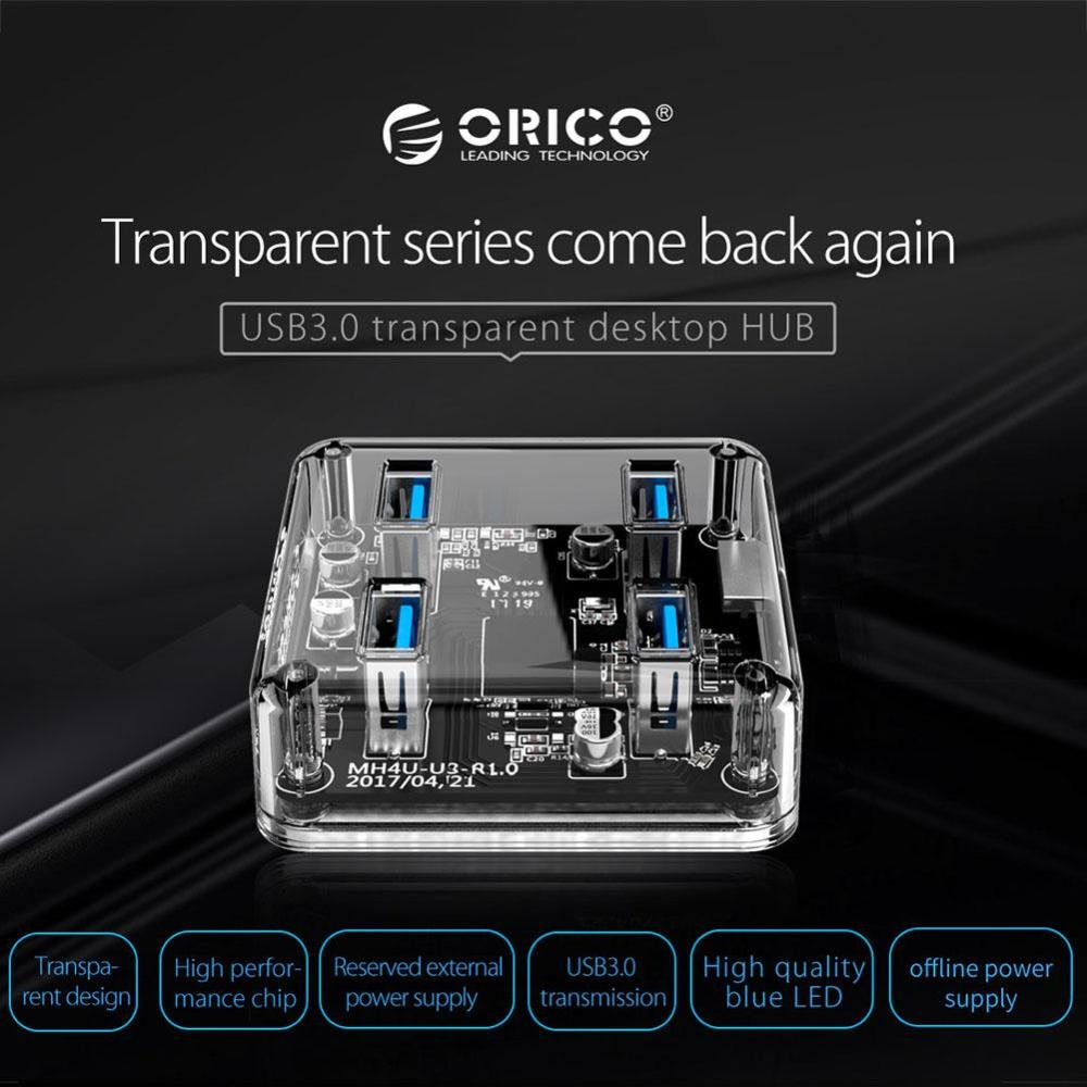 medium resolution of details about orico 4 ports usb 3 0 transparent hub micro port data cable led desktop laptop