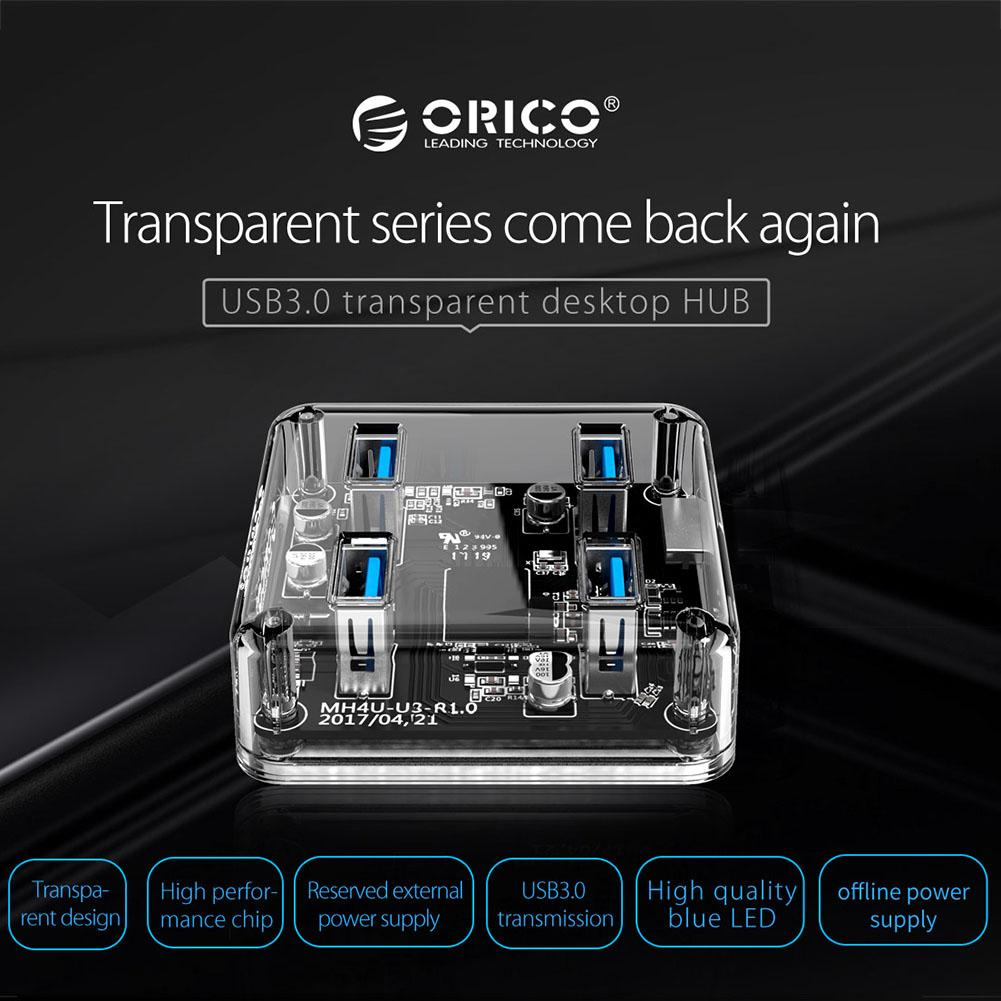 hight resolution of details about orico 4 ports usb 3 0 transparent hub micro port data cable led desktop laptop