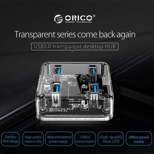 small resolution of details about orico 4 ports usb 3 0 transparent hub micro port data cable led desktop laptop