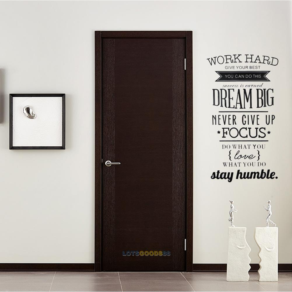 Wall Decals Quotes Work Hard Vinyl Wall Sticker Decorative