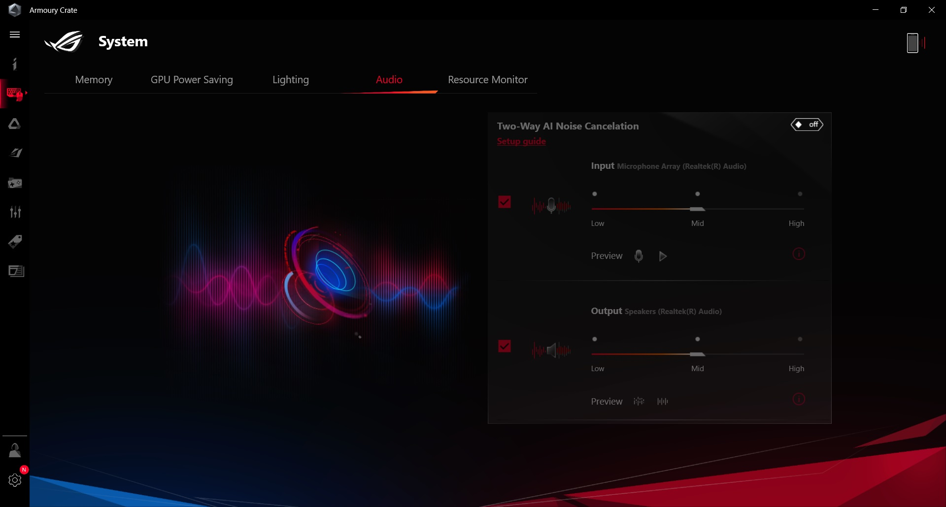 rog zephyrus g14 armoury crate system audio