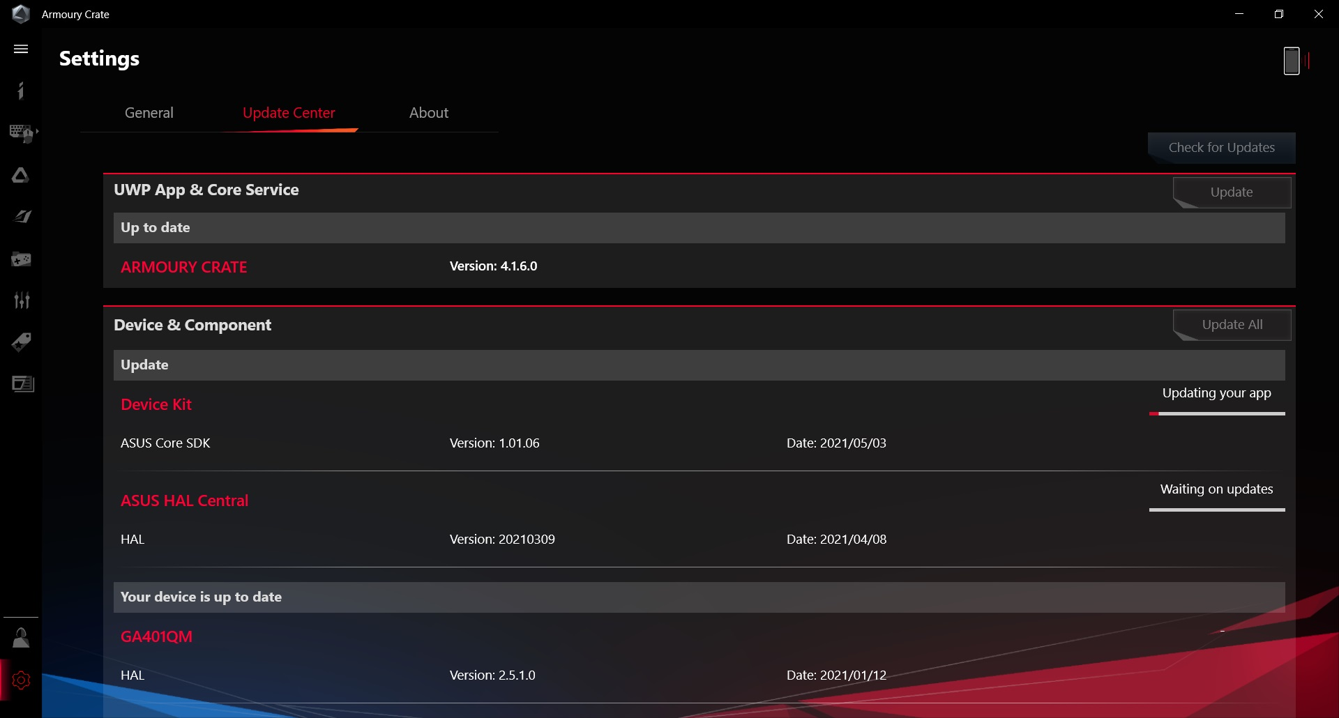 rog zephyrus g14 armoury crate update center