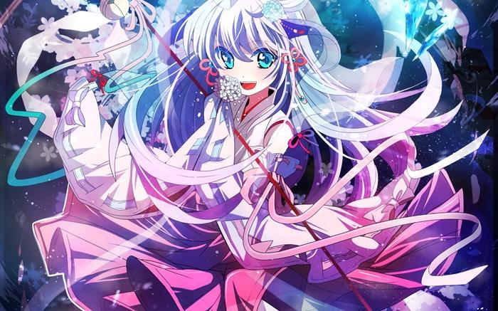 藍眼睛動漫女孩跳舞,晶體 高清桌布   動漫   電腦桌布預覽   HK.HDWALL365.com