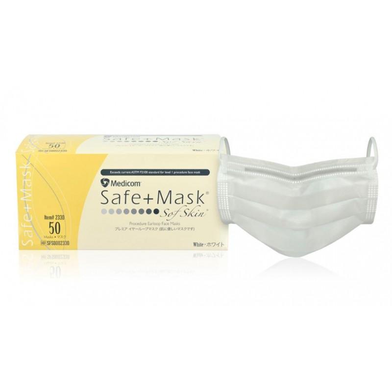 Medicom Safe+Mask SofSkin 低致敏醫用耳掛口罩(非獨立包裝) (白色 50包/盒) - 康怡網上商店