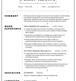 cv sample project manager electronic electrical mechanical engineering  [ 1300 x 1814 Pixel ]