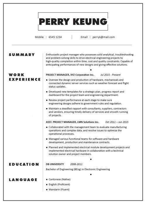 small resolution of cv sample project manager electronic electrical mechanical engineering