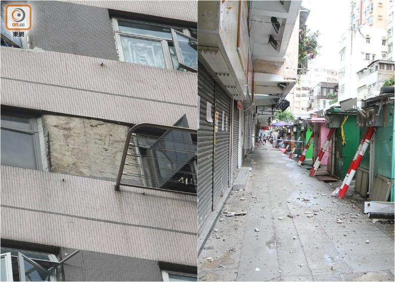 花園街大廈外牆紙皮石剝落 碎片擊中排檔 - 東網即時