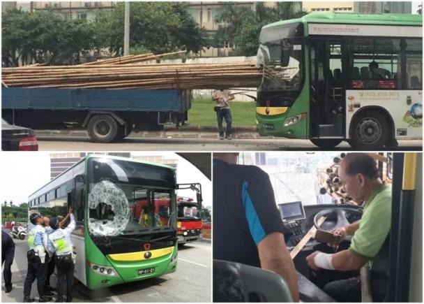 澳門消息:巴士煞唔切 棚竹穿玻璃險殺司機|即時新聞|港澳|on.cc東網