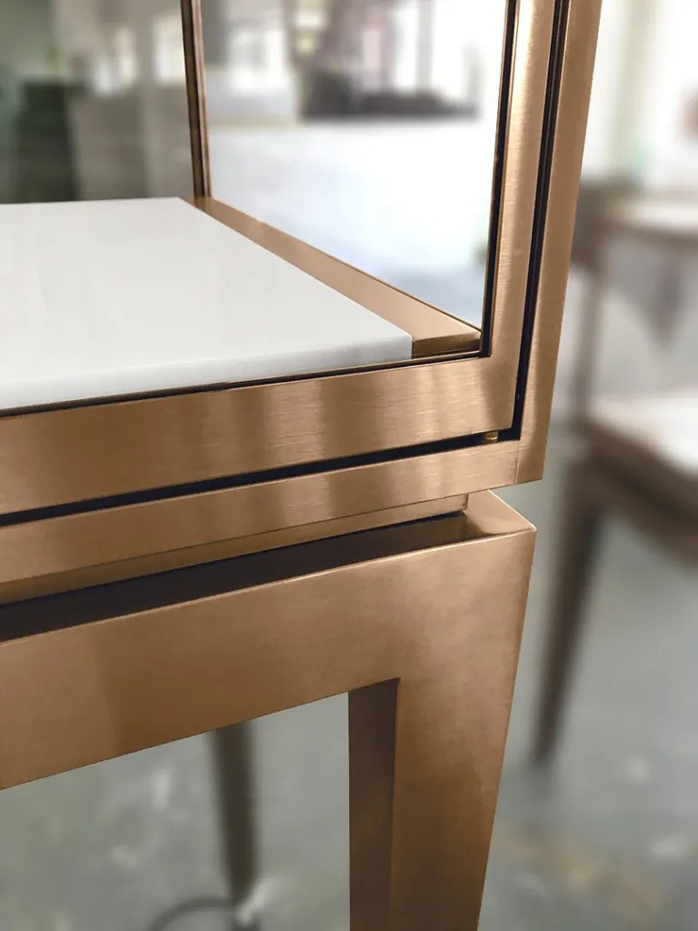 Stainless Steel Rose Gold Finish Frame Door   Besty Display