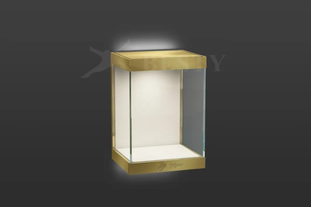 Champagne Wall Mounted Display Showcase with LED | Besty Display