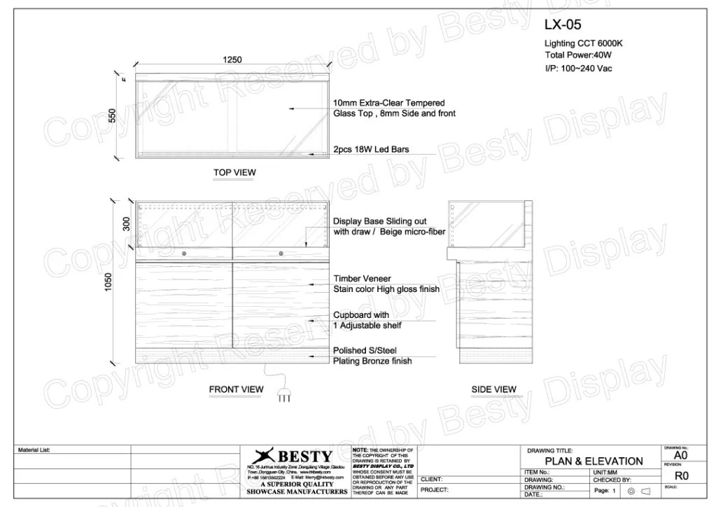 LX-05 Technical File Measurement | Besty Display