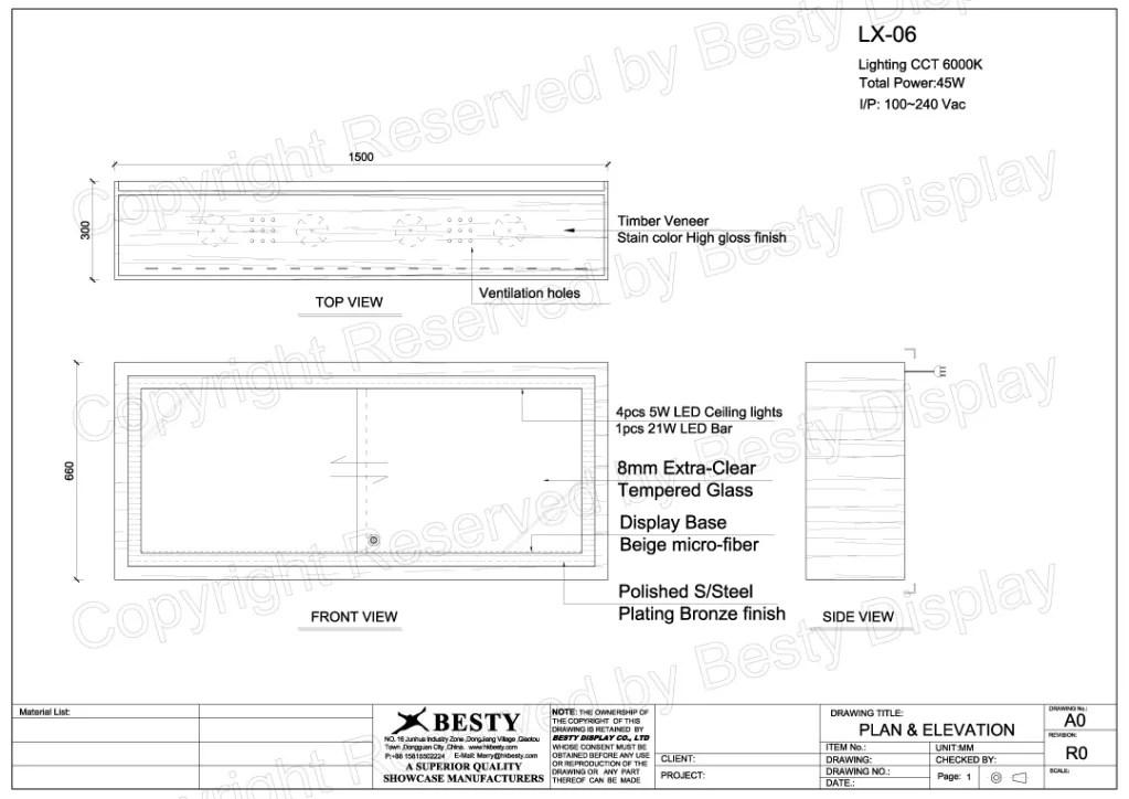 LX-06 Technical File Measurement | Besty Display