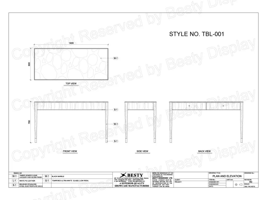 TBL-001 Technical File Measurement   Besty Display
