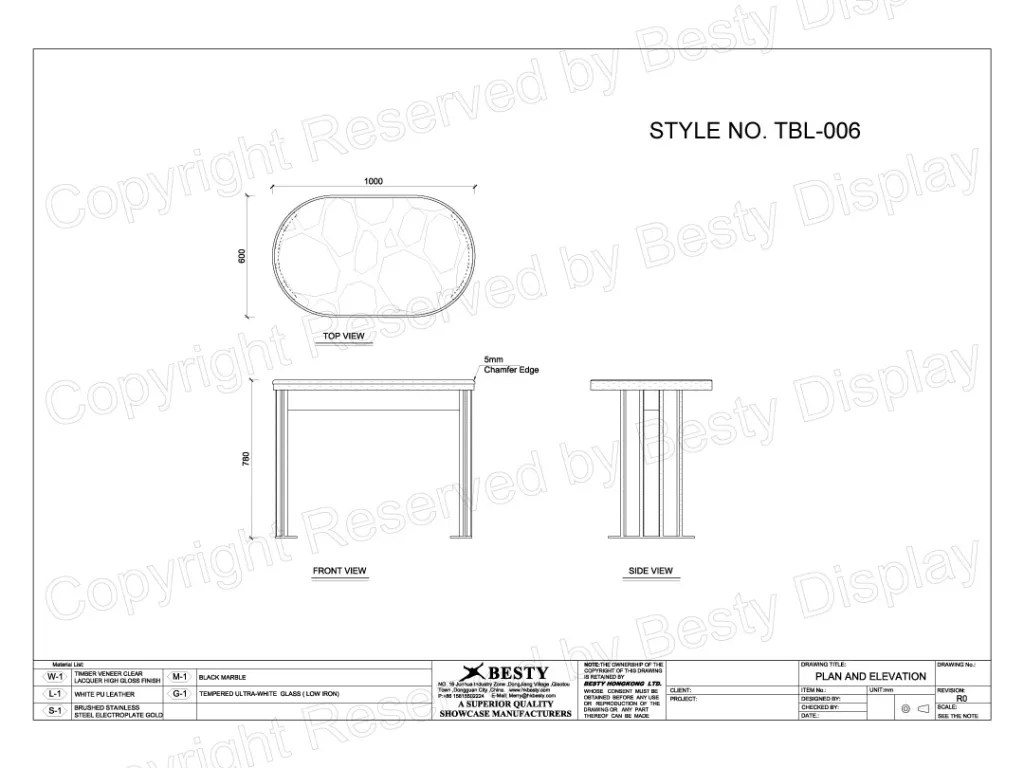 TBL-006 Technical File Measurement | Besty Display