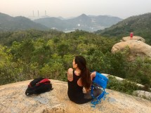 Czai hike buddy with the view of the powerplant towards Yung Shue Wan