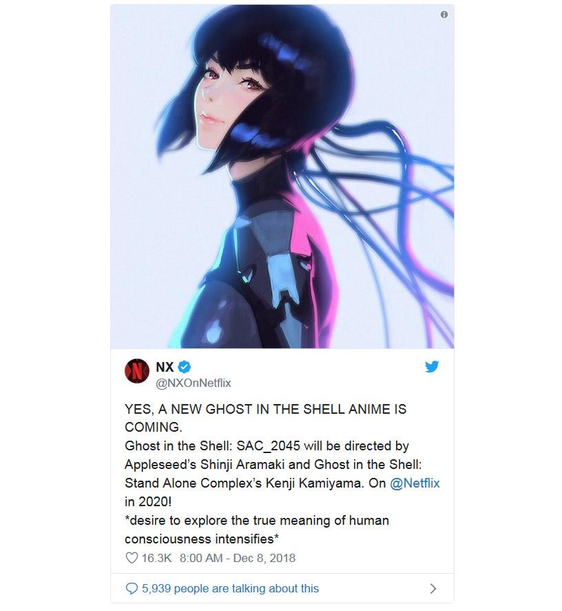 《攻殼機動隊》新作2020年Netflix首播 - 香港高登