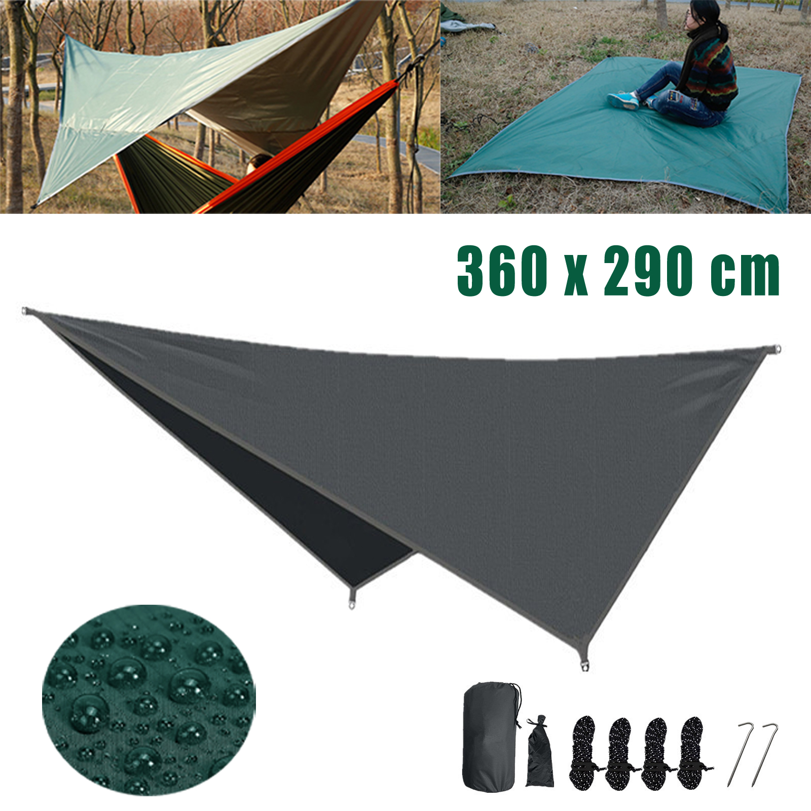 Tent Tarp Rain Sun Shade Hammock Shelter Waterproof Beach