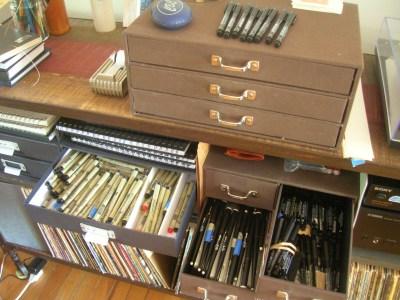 Multiple Pen & Pencil storage drawers-Alan's Home Studio
