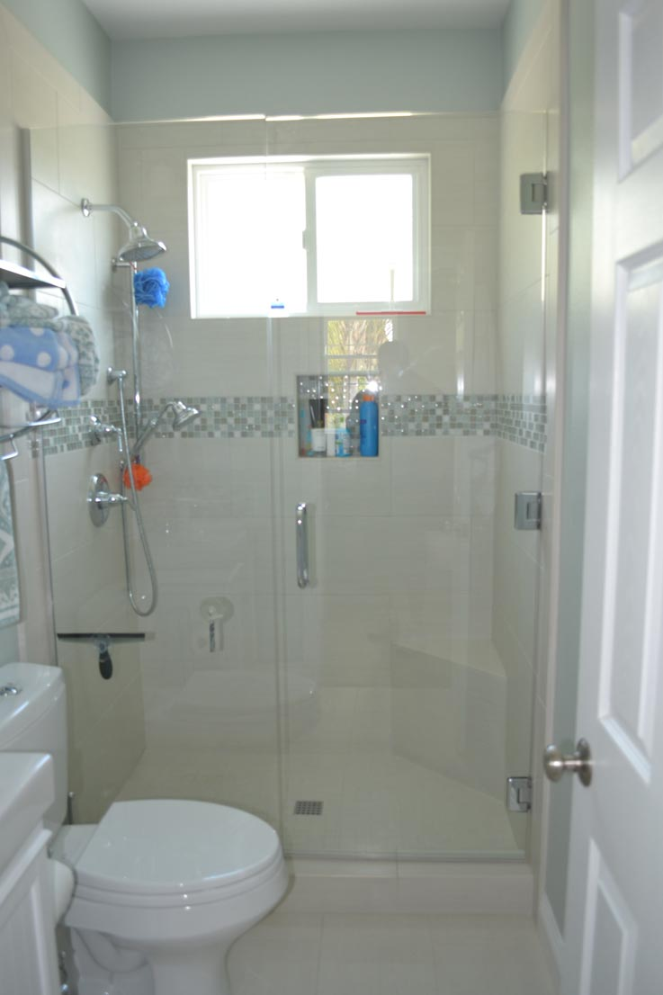 Glass Door Shower Remodel by HK Construction Poway CA