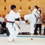 本會黃偉明〔右〕在進行搏擊比賽  Mr. Wong Wai-ming, member of our Association, competing in a kumite match
