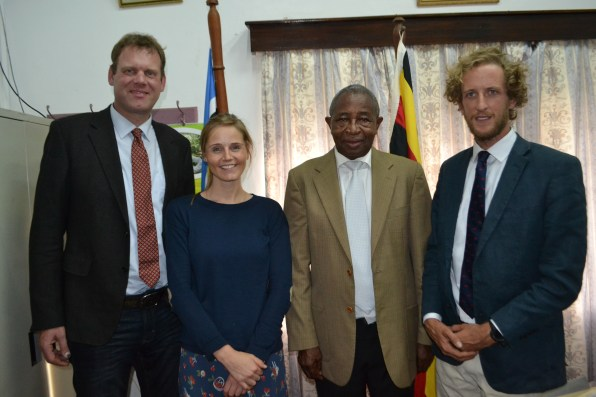Amatheon Agri officials - Mr. Herwig Tilly, Ms. Leweke von Hoff, and Mr. Thomas Rowles Nicholson (extreme right) pose with Hon. Tress Bucyanayandi, the Minister of Agriculture, Animal Industry and Fisheries.