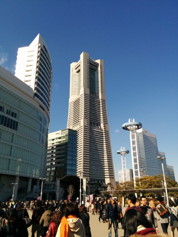 New Otani Inn is located in the building on the left of the Landmark Toewr, the 3rd tallest buliding in Japan