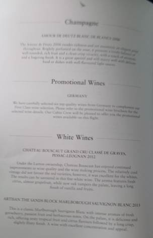 CX 542 white wine list (HK Travel Blog)