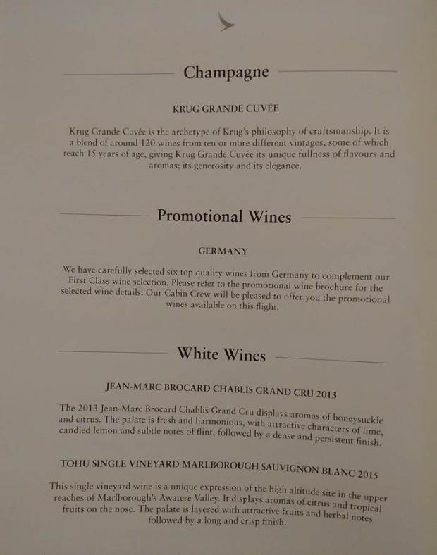 champagne and white wine list CX521 (HK Travel Blog)