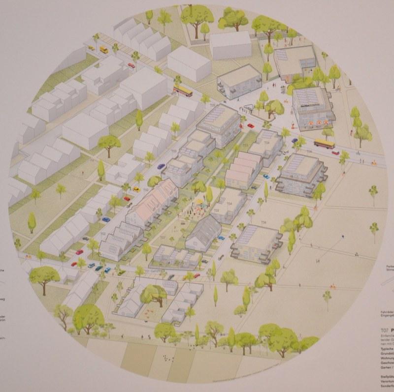 In dem preisgekrönten Konzept ist eine Bebauung mit unterschiedlichen Haustypen vorgesehen.