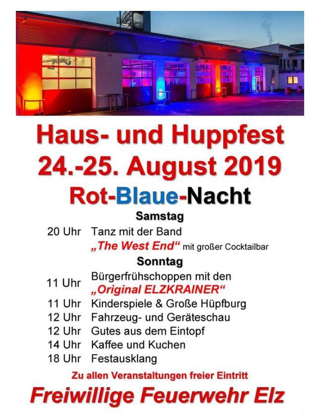 Plakat Haus und Huppfest Feuerwehr Elz