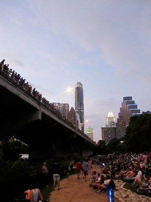 Hundreds came to Lady Bird Lake to watch the bats. We waited 2.5 hours!