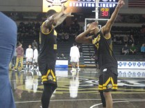 A couple of Norse players during starting lineup introductions.