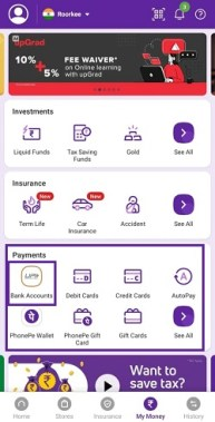 remove bank account from phonepe