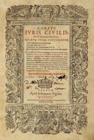 Pagina del titolo di un'edizione dell'opera di Giustiniano, pubblicata a Ginevra presso l'editore Jean Vignon nel 1614 (Stiftsbibliothek St. Gallen; fotografia Carsten Seltrecht).